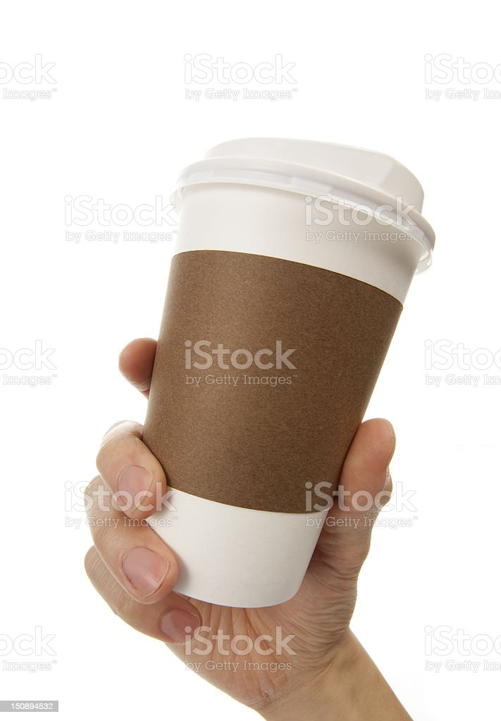 Holding hot coffee royalty-free stock photo