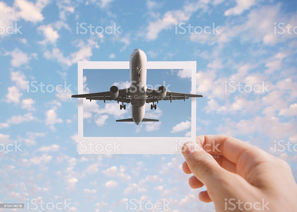 Holding instant photo stock photo