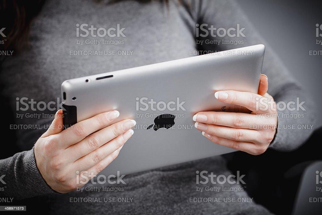 Holding iPad 2 royalty-free stock photo