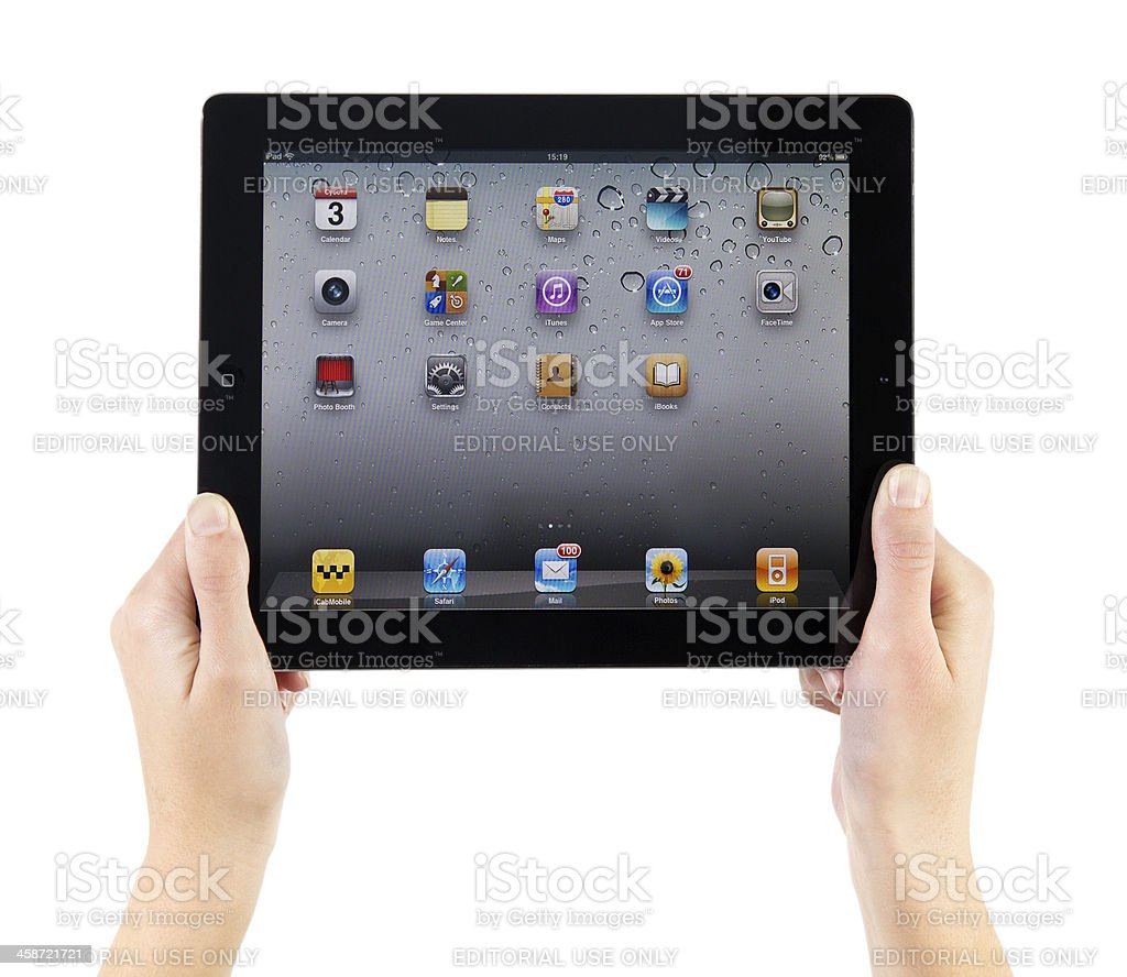 Holding iPad2 In Hands stock photo