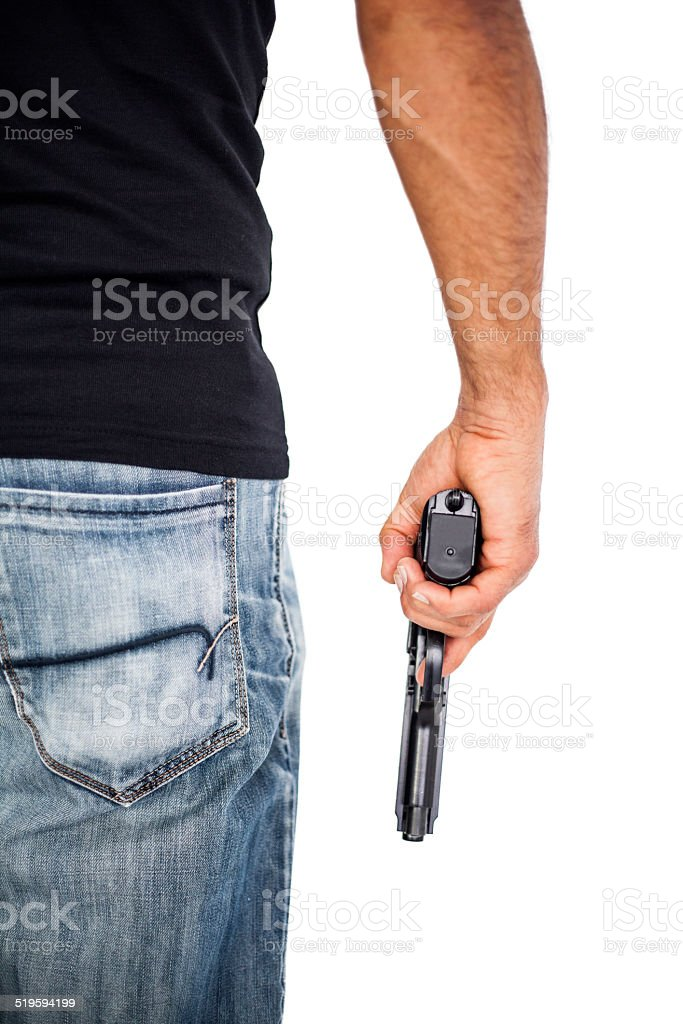 Holding man a gun isolated on white stock photo