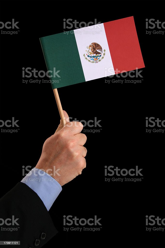 Holding mexican flag royalty-free stock photo