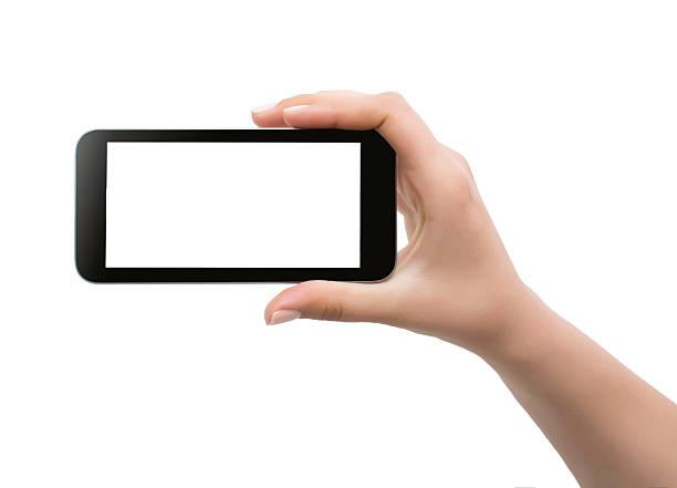 halten Handy, isoliert – Foto