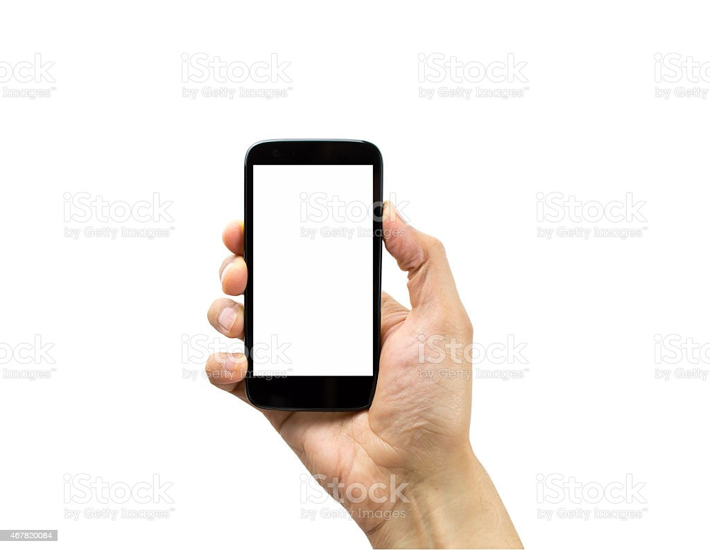 holding mobile stock photo