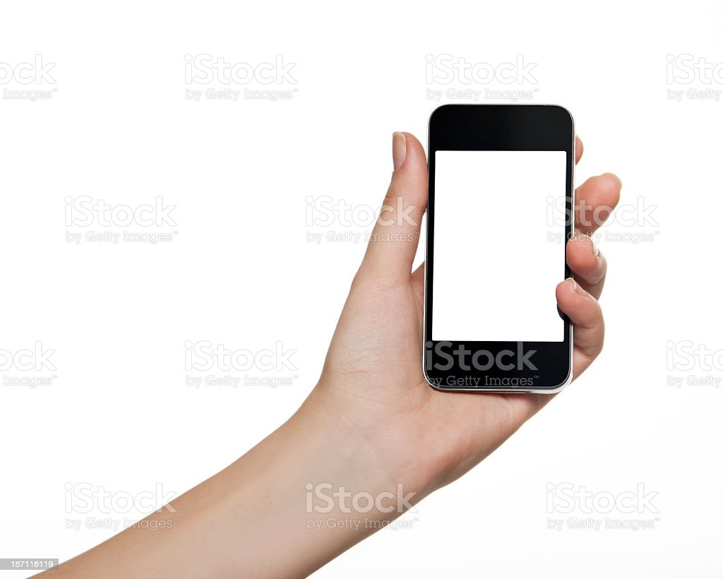 Holding Mobile Smart Phone In Female Hand royalty-free stock photo