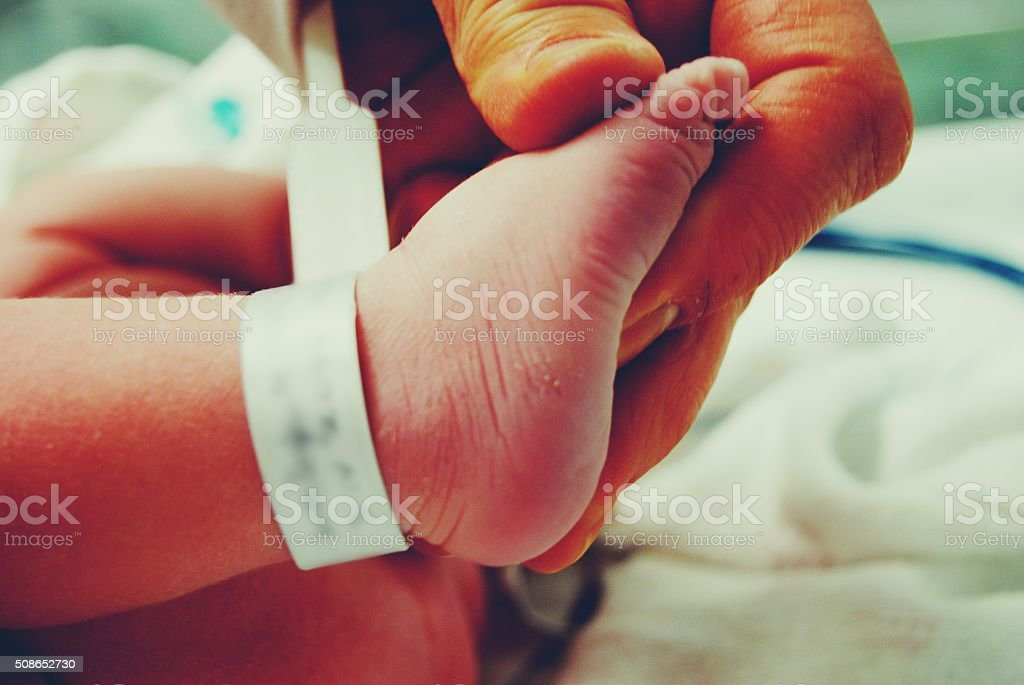 Holding Newborn foot stock photo
