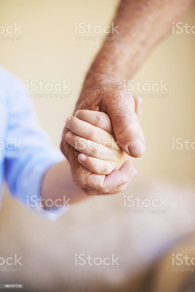 Holding on to a guiding hand royalty-free stock photo