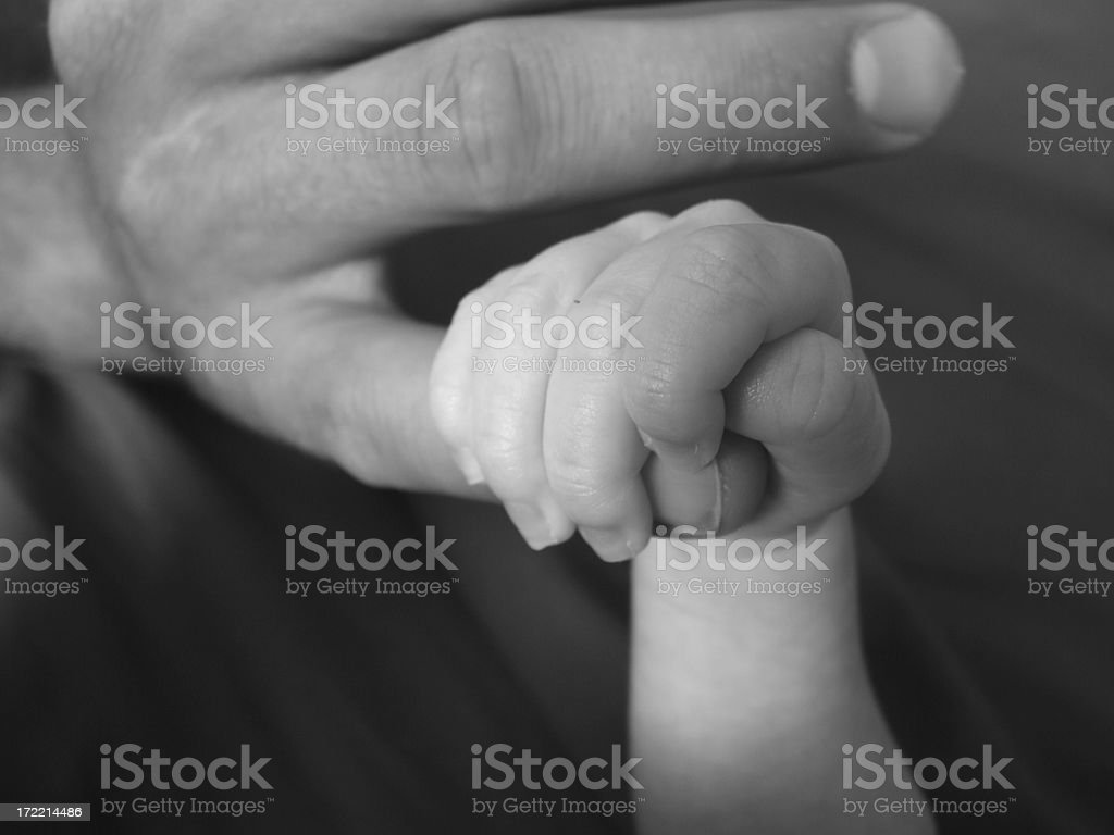 Holding on to Daddy royalty-free stock photo