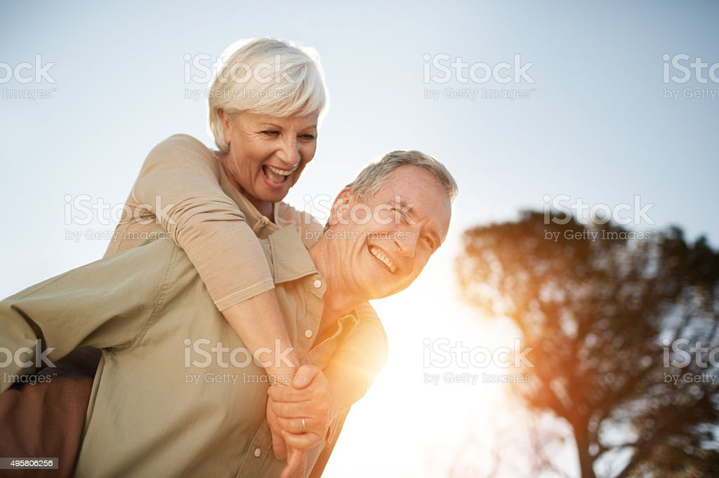 Holding on to their zest for life stock photo