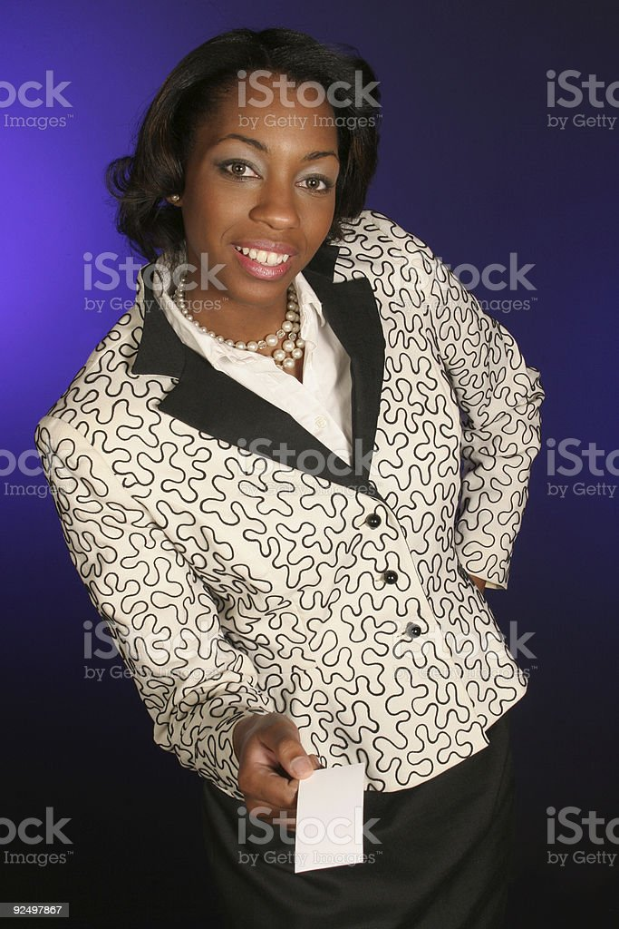 holding out her business card royalty-free stock photo