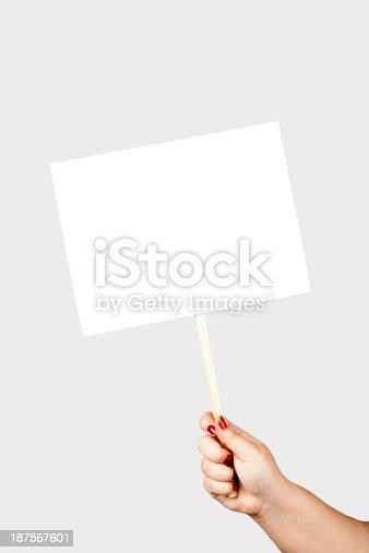 896826068 istock photo holding placard 187567601