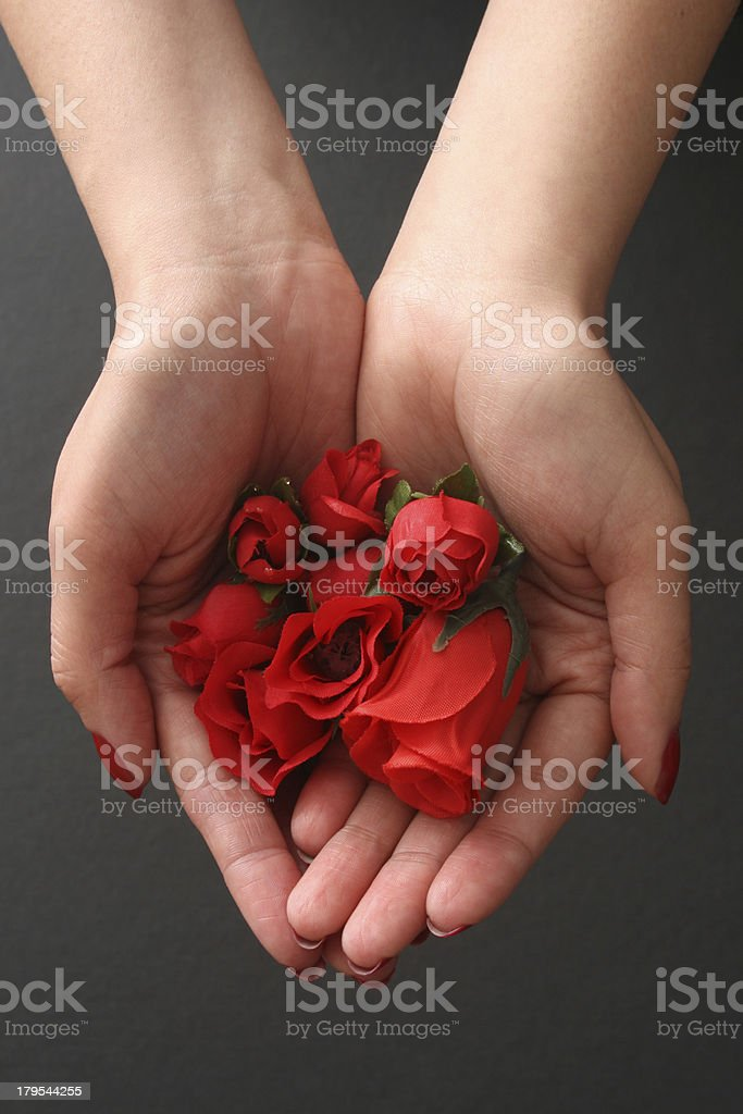 Holding plastic roses royalty-free stock photo