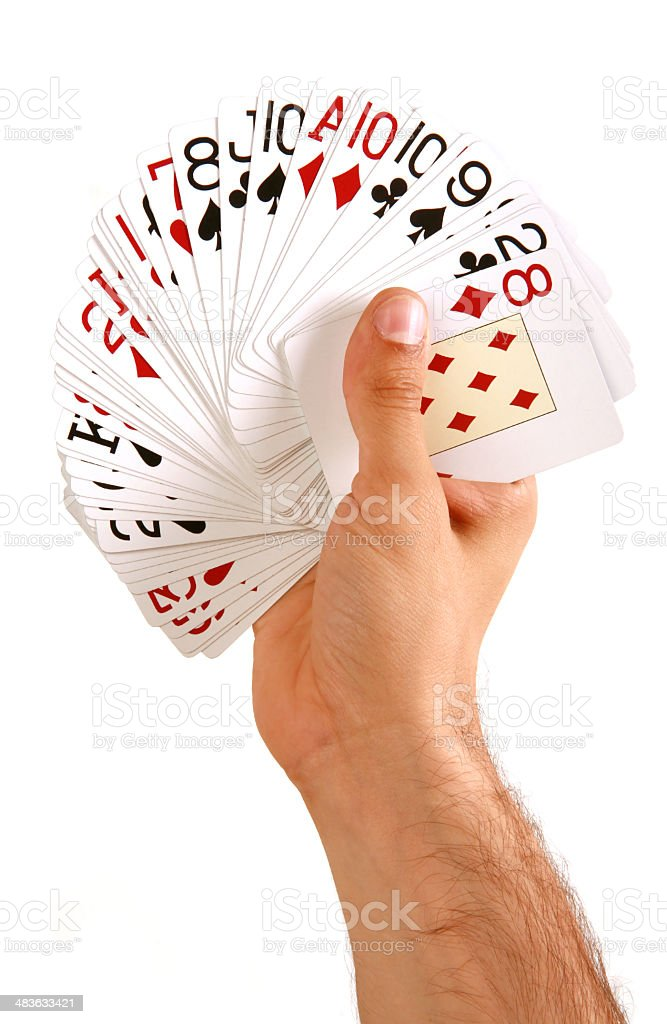 holding poker cards royalty-free stock photo