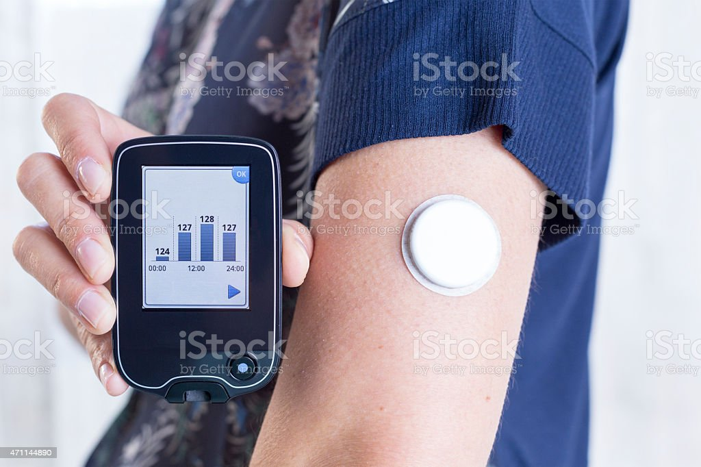 holding reader and placed sensor stock photo