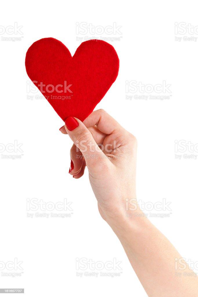 Holding red felt heart royalty-free stock photo