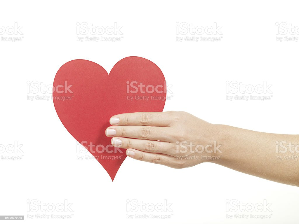 Holding red paper heart (isolated with clipping path white background) royalty-free stock photo