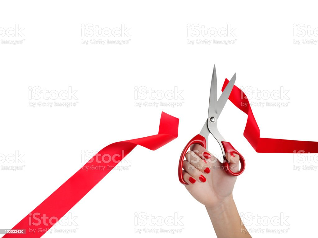 Holding Scissors, Cutting Ribbon royalty-free stock photo