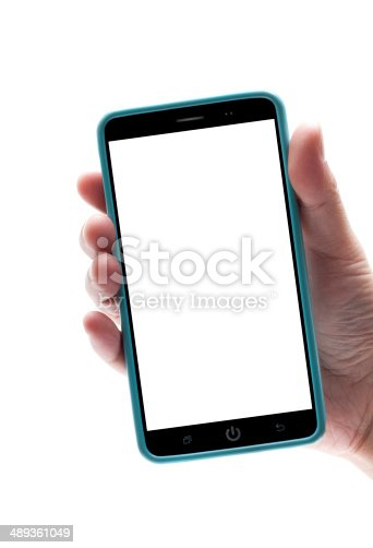 istock Holding  smart phone with blank screen (Clipping path) 489361049