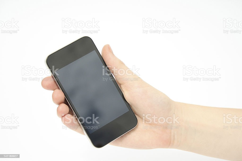 Holding Smartphone Mobile Phone in hand stock photo