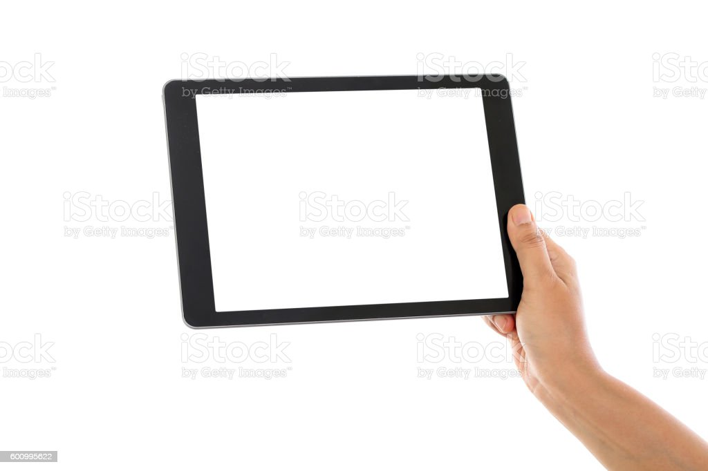 Holding tablet computer against white background stock photo