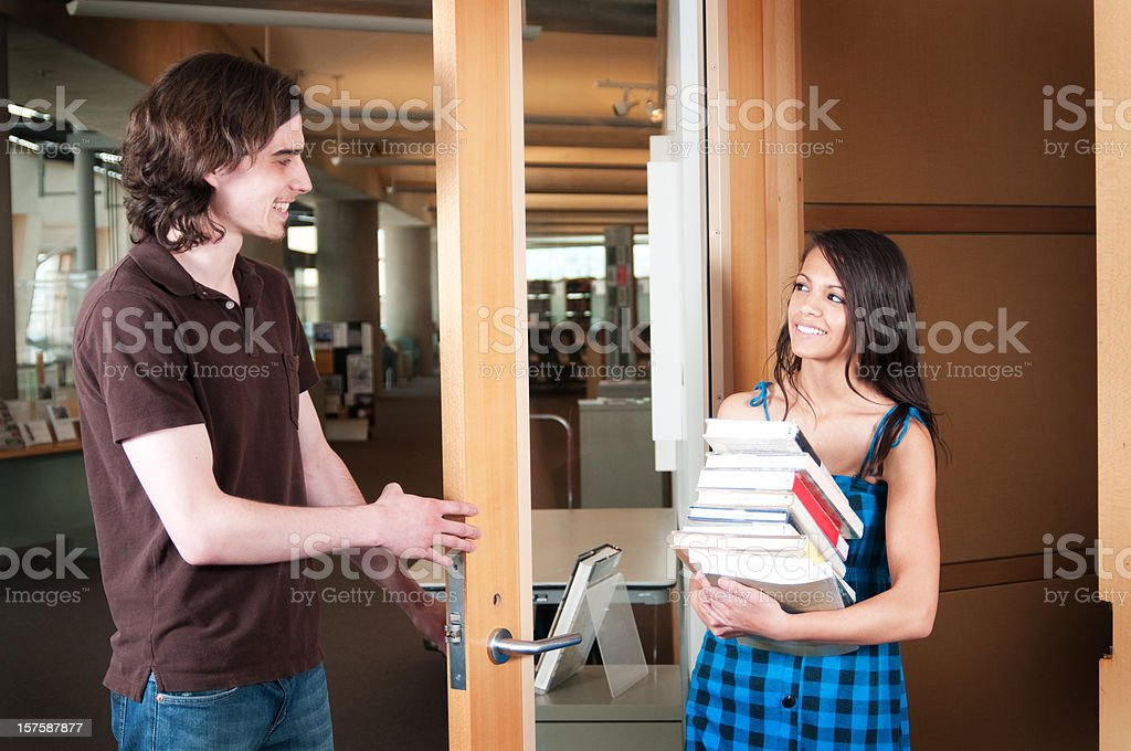 Holding the Door royalty-free stock photo
