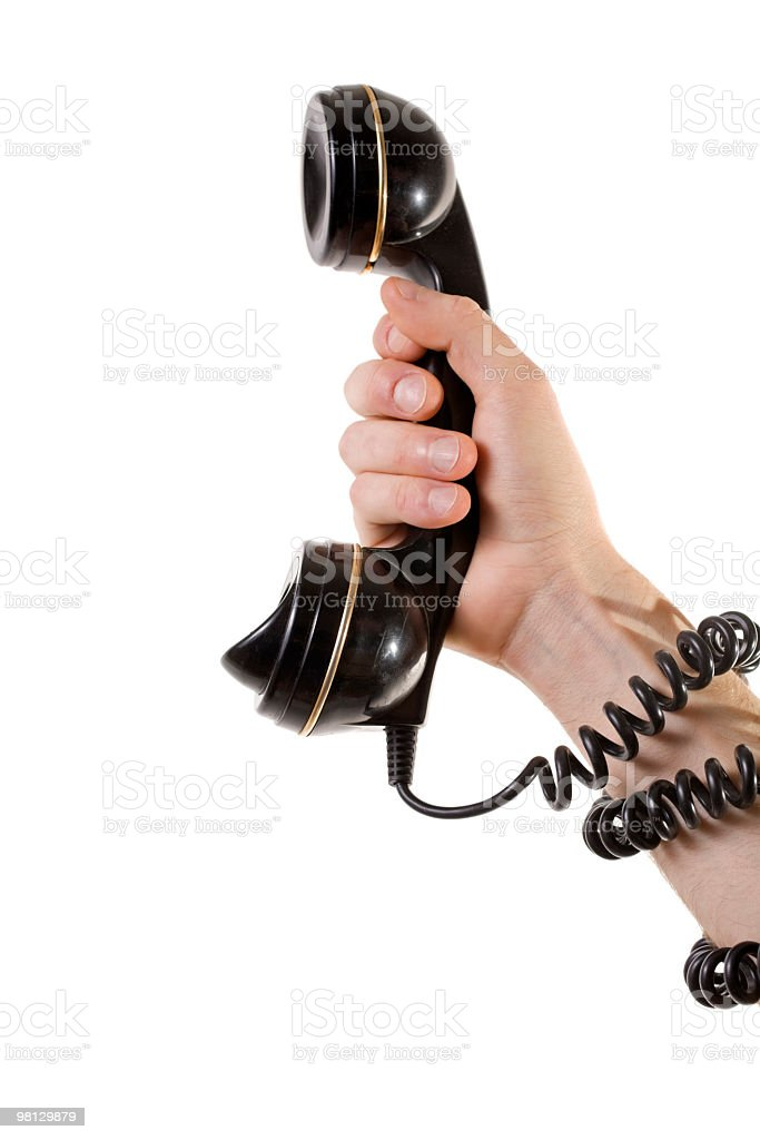 Holding the phone royalty-free stock photo