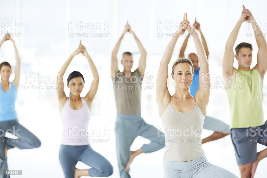 Holding their poses stock photo