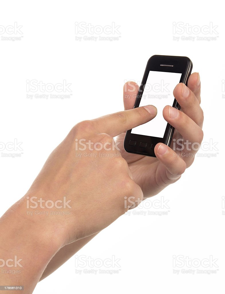 Holding Touchscreen Device royalty-free stock photo