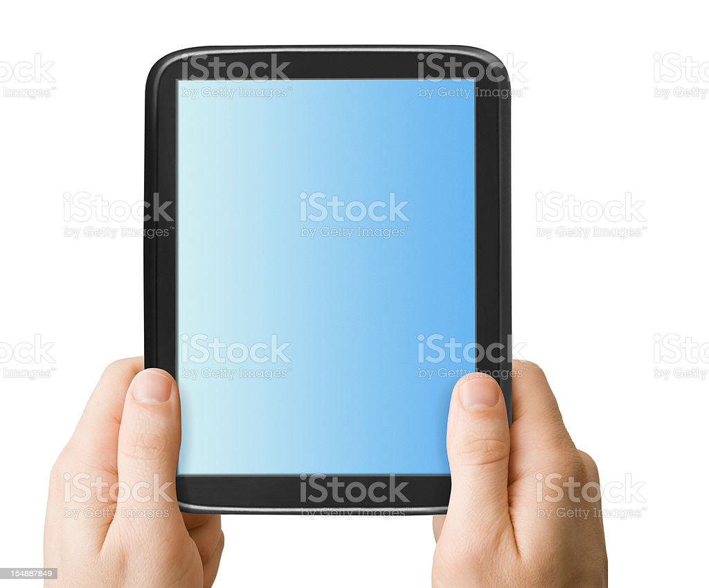 Holding Touchscreen Tablet royalty-free stock photo