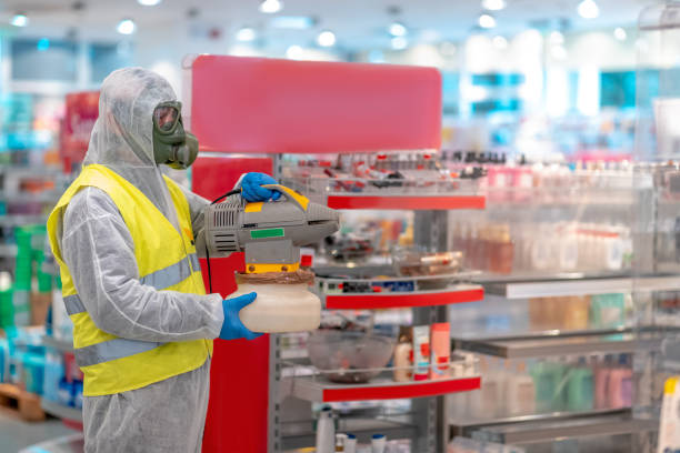 Holding up electrostatic sprayer to disinfect supermarket stock photo
