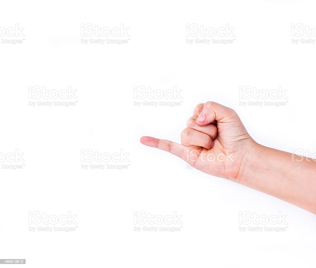 Holding up the little finger, showing friendship and promise. stock photo