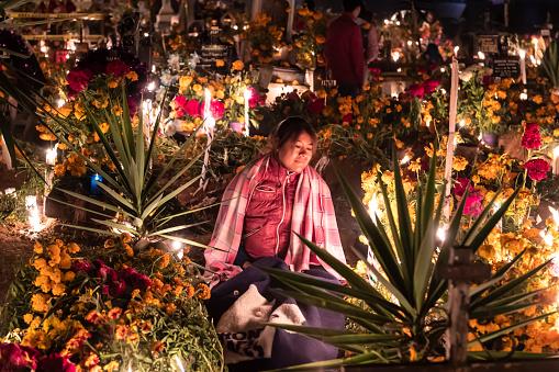 Holding Vigil in the Cemetery in San Agustin Etla on the Día de los Muertos