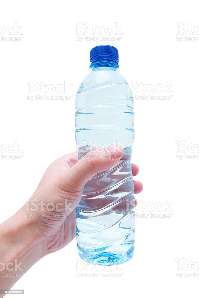 Holding Water bottle (Clipping Path!) isolated on white royalty-free stock photo