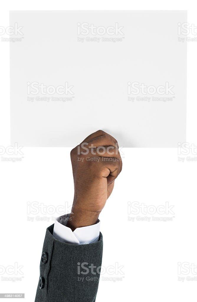 Holding white billboard stock photo
