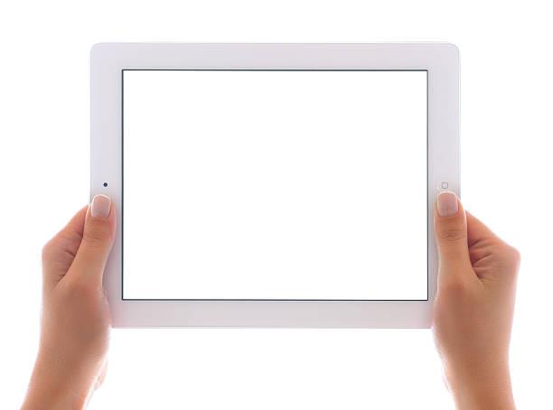 trzymając biały ekran na ipad 3 - ipad zdjęcia i obrazy z banku zdjęć