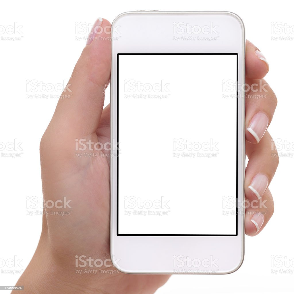 Holding white screen smart phone stock photo