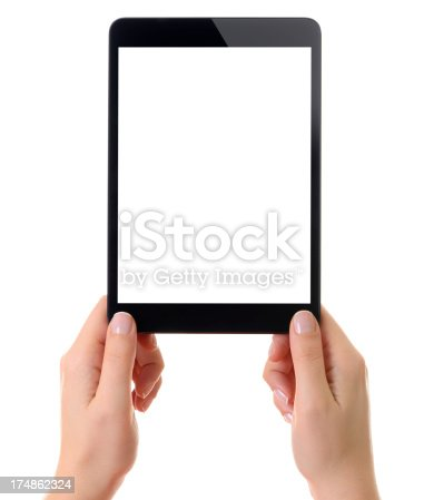 928855610istockphoto Holding white screen tablet computer 174862324