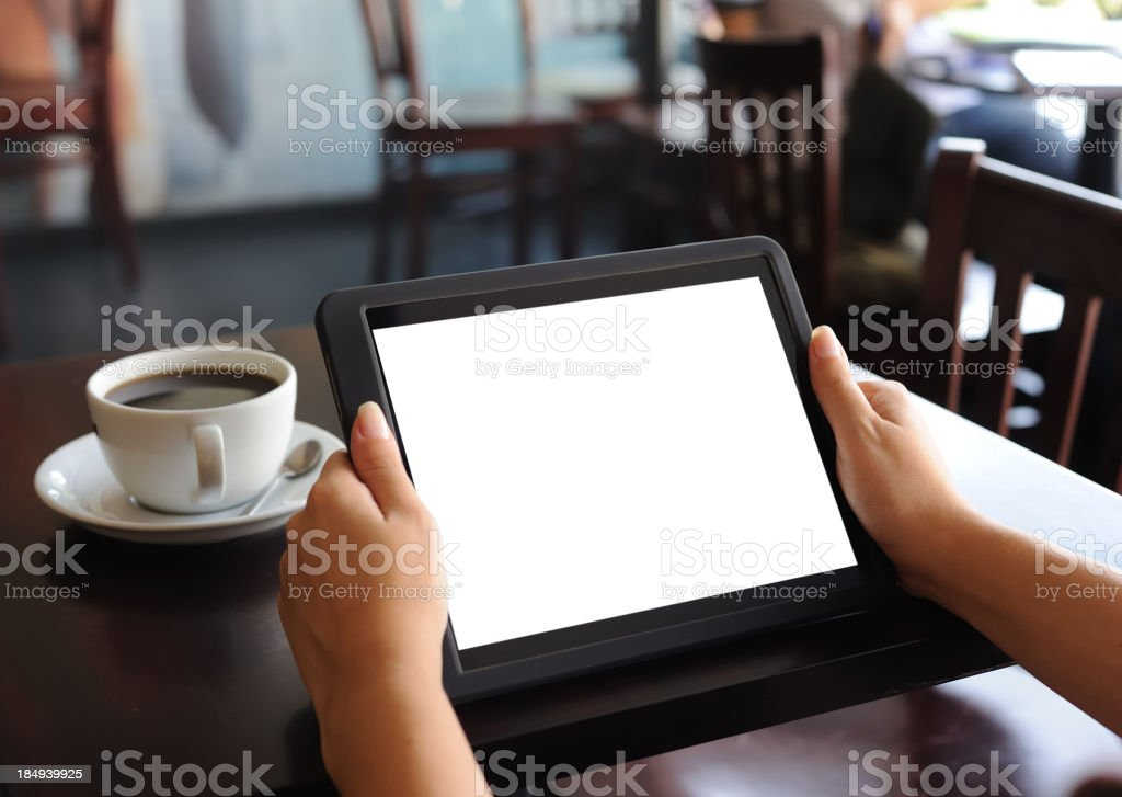 Holding white screen tablet pc royalty-free stock photo