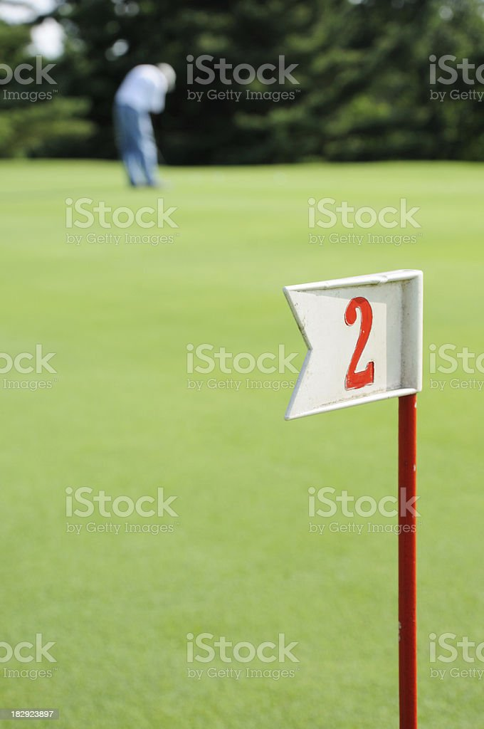 Hole 2 on the practice green royalty-free stock photo