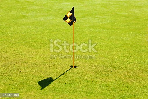 Hole and flagstick in the middle of putting green on golf course
