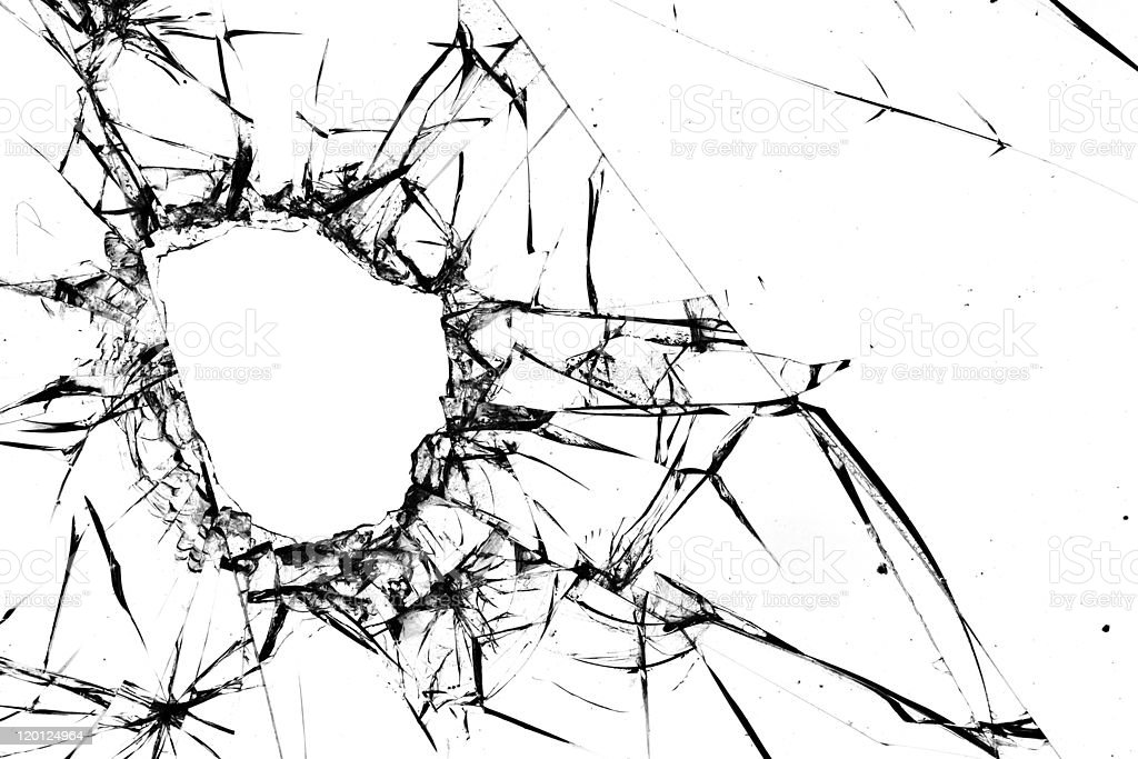 Hole  cracks  window stock photo