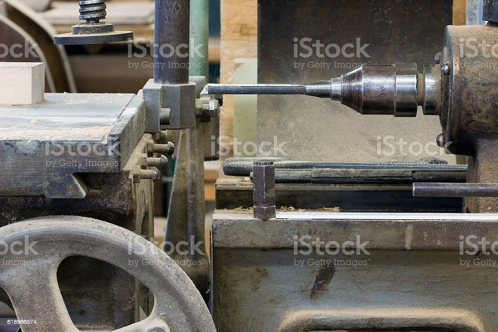 Hole cutter in the carpentry workshop stock photo