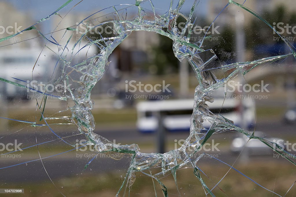 Hole  glass  automobile royalty-free stock photo