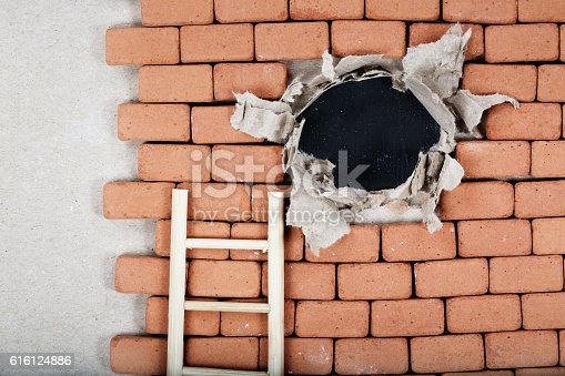 Hole In A Brick Wall Top View Stock Photo More Pictures Of Accuracy