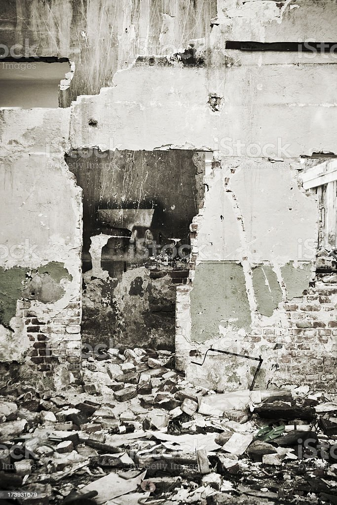 Hole in a destroyed wall royalty-free stock photo