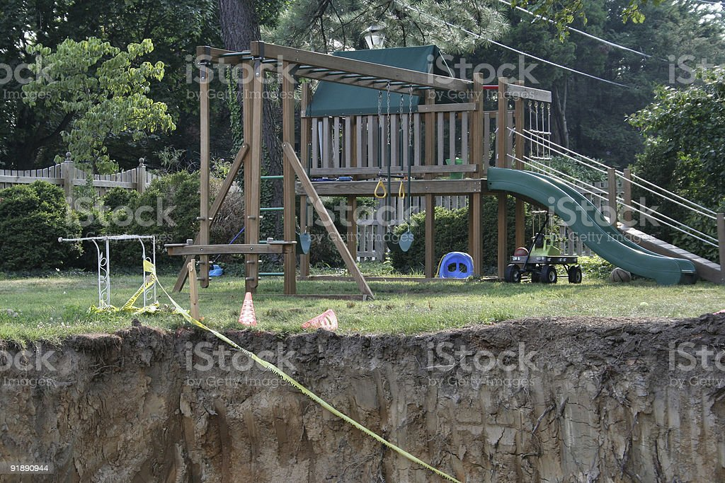 Hole in a yard 2 royalty-free stock photo