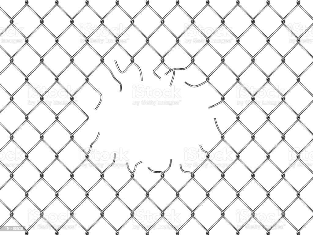 Hole in fence from silver mesh stock photo