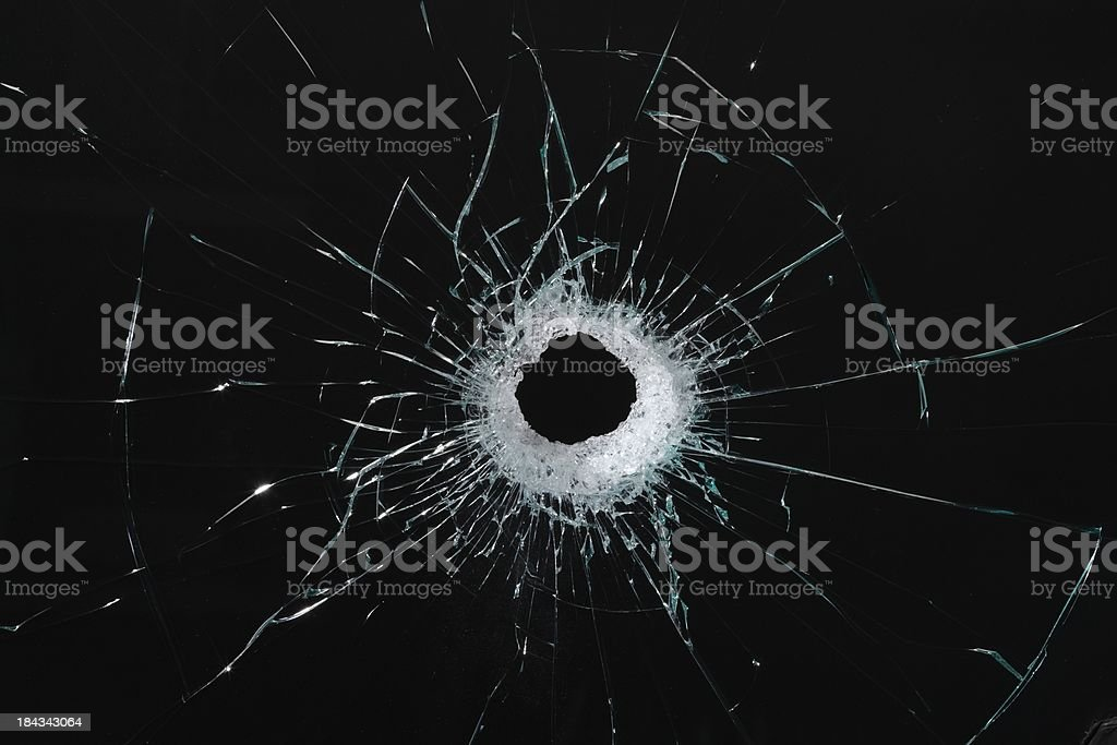 Hole in glass wide angle stock photo