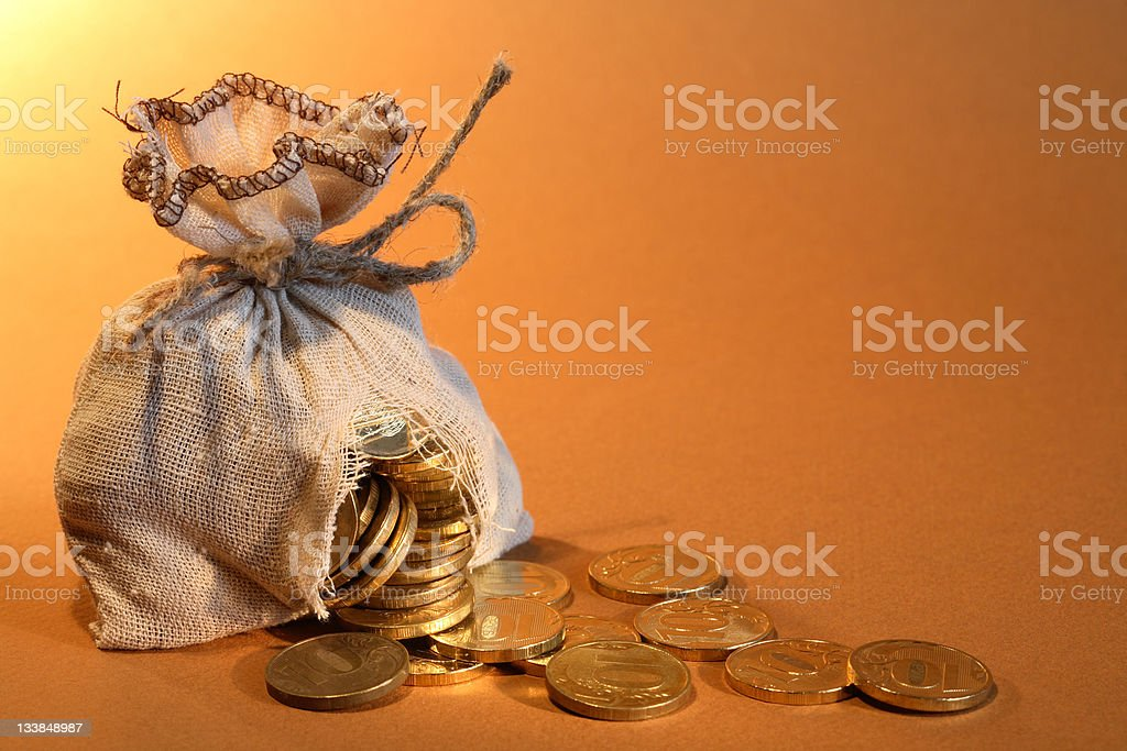 Hole In Moneybag stock photo