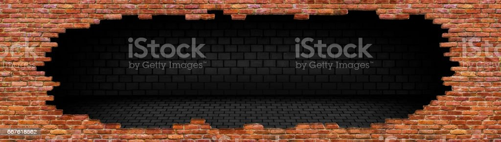 Hole in old brick wall texture of the destroyed stock photo